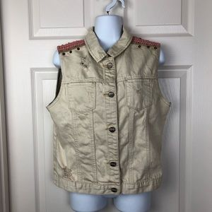 Hart Denim Tan Distressed Jean Button Down Vest M